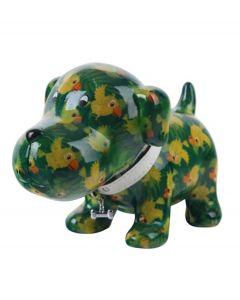 Pomme Pidou spaarpot hond Bruno - Groen met papegaaien - 105803