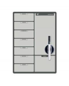 Balvi weekplanner en memobord koelkastmagneet - Zwart - Wit - 8430306263656
