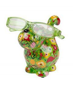 Pomme Pidou brilhouder kat Dorothy - Groen met bloemen en flamingo's - 106481