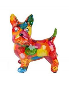 Pomme Pidou brilhouder hond Boomer - Oranje met gekleurde stippen - 106488