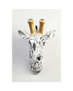 Pomme Pidou Aniwalls dierenkop giraffe Maddy - Wit met zwarte bloemen - 107145