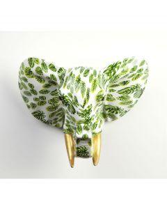 Pomme Pidou Aniwalls dierenkop olifant Jim - Wit met groene bladeren - 106881