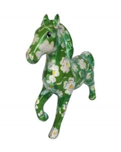 Pomme Pidou spaarpot paard Lucky - Groen met witte bloemen - 107264