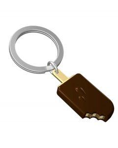 Metalmorphose sleutelhanger ijslolly bruin met goud - 107390