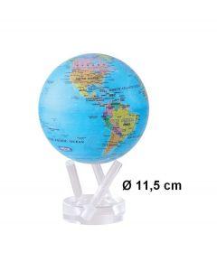 Mova wereldbol op zonne energie Ø 11,5 cm - Blauw met staatkundige kaart (BOE)