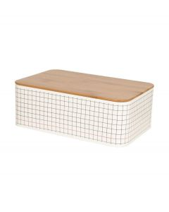 Pt brooddoos met houten deksel - Wit - 103255