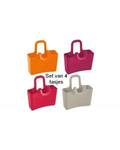Koziol set mini tasjes voor aan een glas Lilli - Set van 4: rood - oranje - fuchsia - grijs - 103491