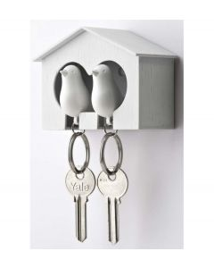 Qualy sleutelhouder vogelhuisje Sparrow Couple - Wit - Wit - 101013