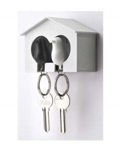 Qualy sleutelhouder vogelhuisje Sparrow Couple - Wit - Zwart - 101008