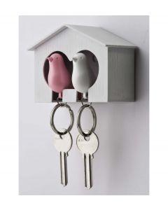 Qualy sleutelhouder vogelhuisje Sparrow Couple - Wit - Roze - 101012