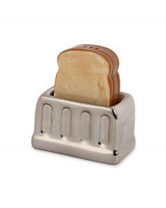 Balvi peper en zout set broodrooster Toast zilver keramiek - 104029