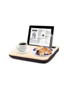 Kikkerland tablet houder met schootkussen Ibed hout - 104311