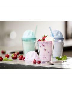 Sagaform milkshake beker Sweet met rietje - Groen - 105218