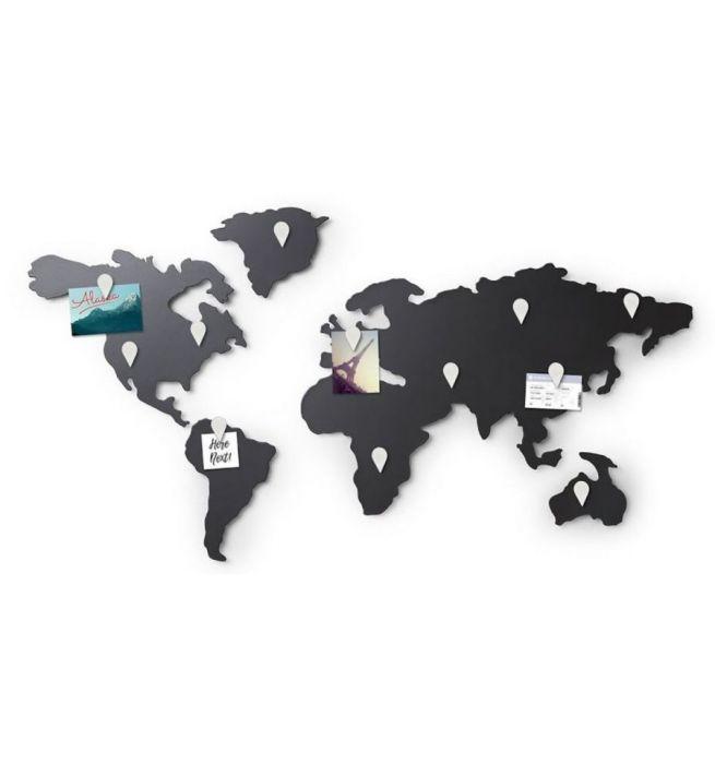 Wanddecoratie Wereldkaart Metaal.Umbra Metalen Wereldkaart Mappit Memo Board Kopen Nicethingz Nl