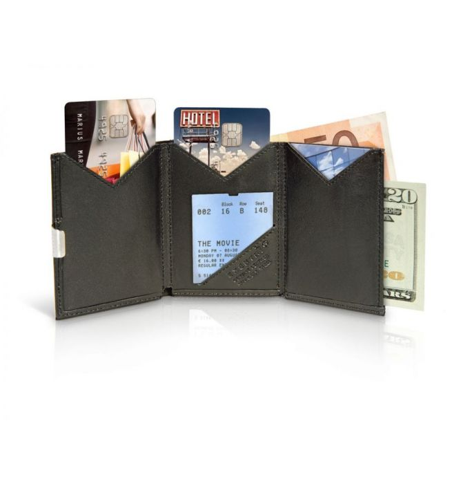 81e55ce5d26 Exentri wallet RFID portemonnee Caiman zwart Leer - 7090024921019