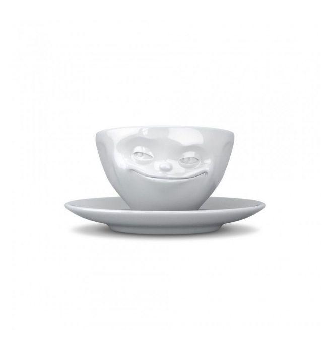 Kop 100 Grijnzend 14 Schotel Met Gezicht Ml Espresso Tassen En N0vmnw8