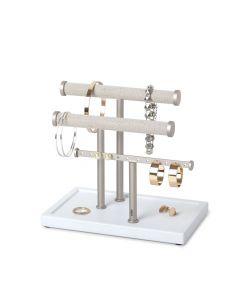 Umbra Sieradenhouder Trigem laag model met 3 rijen - Nikkel / Wit - Staal