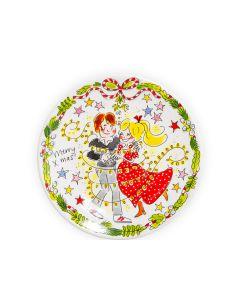 Blond Amsterdam bord 22 cm Dance Merry Christmas - Kerst - 8719416025645