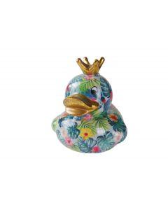 Pomme Pidou spaarpot eend Ducky - Turquoise met gekleurde bladeren en bloemen - 108841