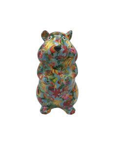 Pomme Pidou spaarpot hamster Finn - Blauw met tropisch fruit - 121522