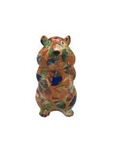 Pomme Pidou spaarpot hamster Finn - Oranje met paraplu's - 121524