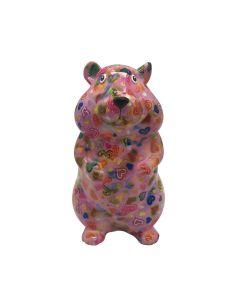 Pomme Pidou spaarpot hamster Finn - Lila met hartjes - 121525