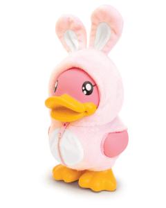Bduck spaarpot eend met roze konijnenpakje
