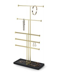 Umbra sieradenhouder Trigem met 5 rijen - Messing / Zwart - Staal