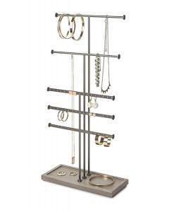 Umbra sieradenhouder Trigem met 5 rijen - Tin / Taupe - Staal