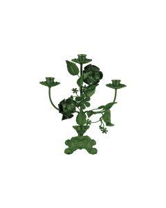 Pt Kaarsenstandaard Flowers - Dark Green - 110594