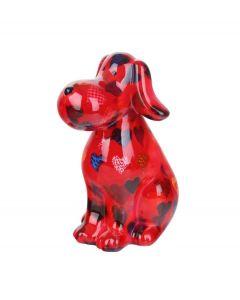 Pomme Pidou spaarpot hond Toby - Rood met harten - 103328