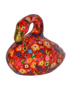 Pomme Pidou spaarpot flamingo Lilly - Rood met bloemen en flamingo's - 106460