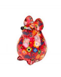 Pomme Pidou brilhouder muis Ini - Rood met bloemen - 106496
