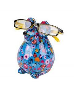 Pomme Pidou brilhouder muis Ini - Blauw met lieveheersbeestjes - 106495