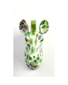 Pomme Pidou Aniwalls dierenkop zebra Ziggy - Licht groen met bloemen - 106874