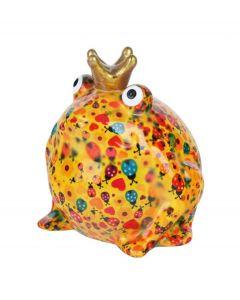 Pomme Pidou spaarpot kikker Freddy - Oranje met lieveheersbeestjes - 107204