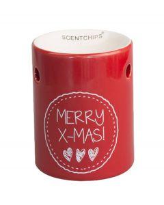 Scentchips Brander Merry Christmas rood met hartjes - Keramiek - 107709