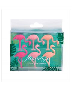 Invotis set van 6 glasmarkers Flamingo - 107798