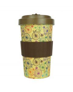 Woodway coffee to go beker bamboe fietsen - bruin - 500 ml