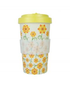 Woodway coffee to go beker bamboe bloemen - geel - 500 ml - 107907