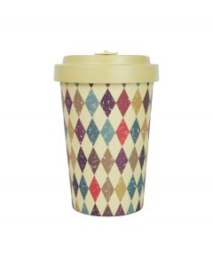 Woodway coffee to go beker bamboe retro daimonds - beige - 400 ml