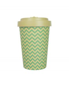 Woodway coffee to go beker bamboe golven - beige - 400 ml