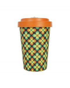 Woodway coffee to go beker bamboe retro bloemen - oranje - 400 ml