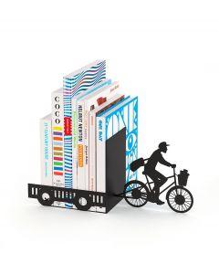 Balvi boekensteun Postbode op fiets Zwart Metaal - 107960