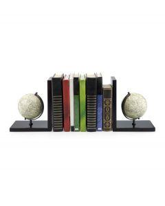 Balvi set van 2 boekensteunen wereldbol Mappamondo zwart hout
