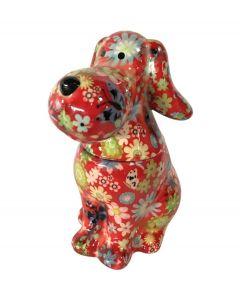 Pomme pidou snoeppot Hond Sweet Toby Rood met bloemen - 108121