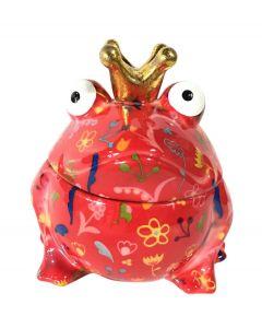 Pomme pidou snoeppot Kikker Sweet Freddy Rood met bloemen - 108131
