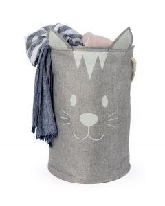 Balvi opvouwbare wasmand kat Meow grijs textiel - 108339