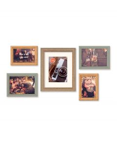 Balvi set van 5 fotolijstjes Wall Deco diverse maten bruin kunststof - 108309