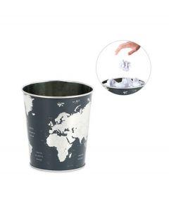 Balvi prullenbak Globe met print wereldkaart antraciet metaal - 108299